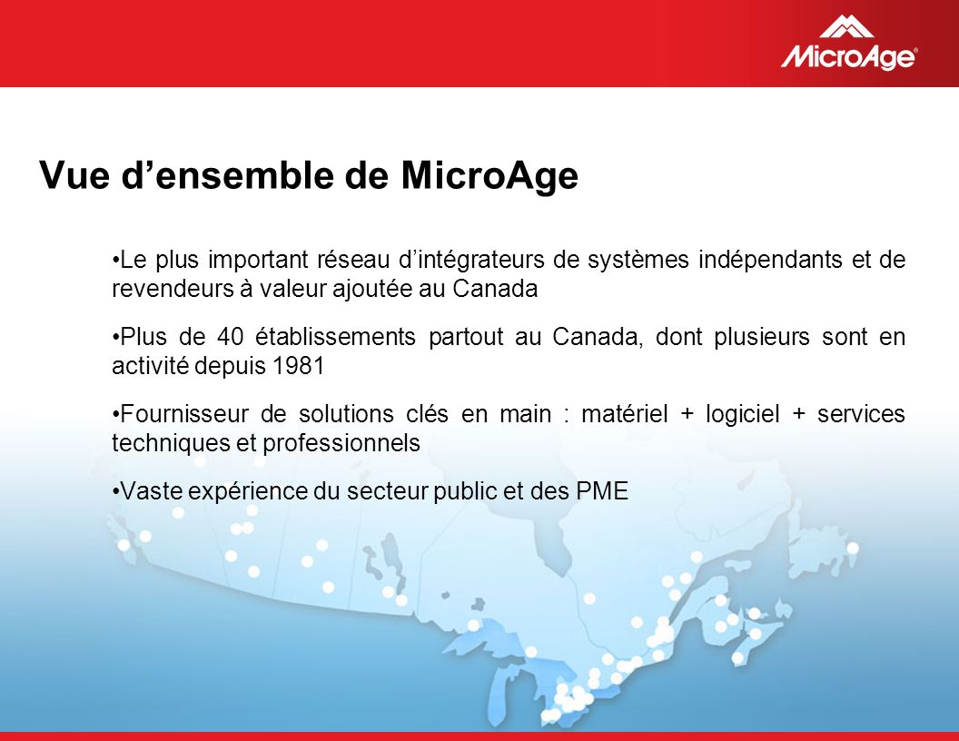 Vue d'ensemble de MicroAge
