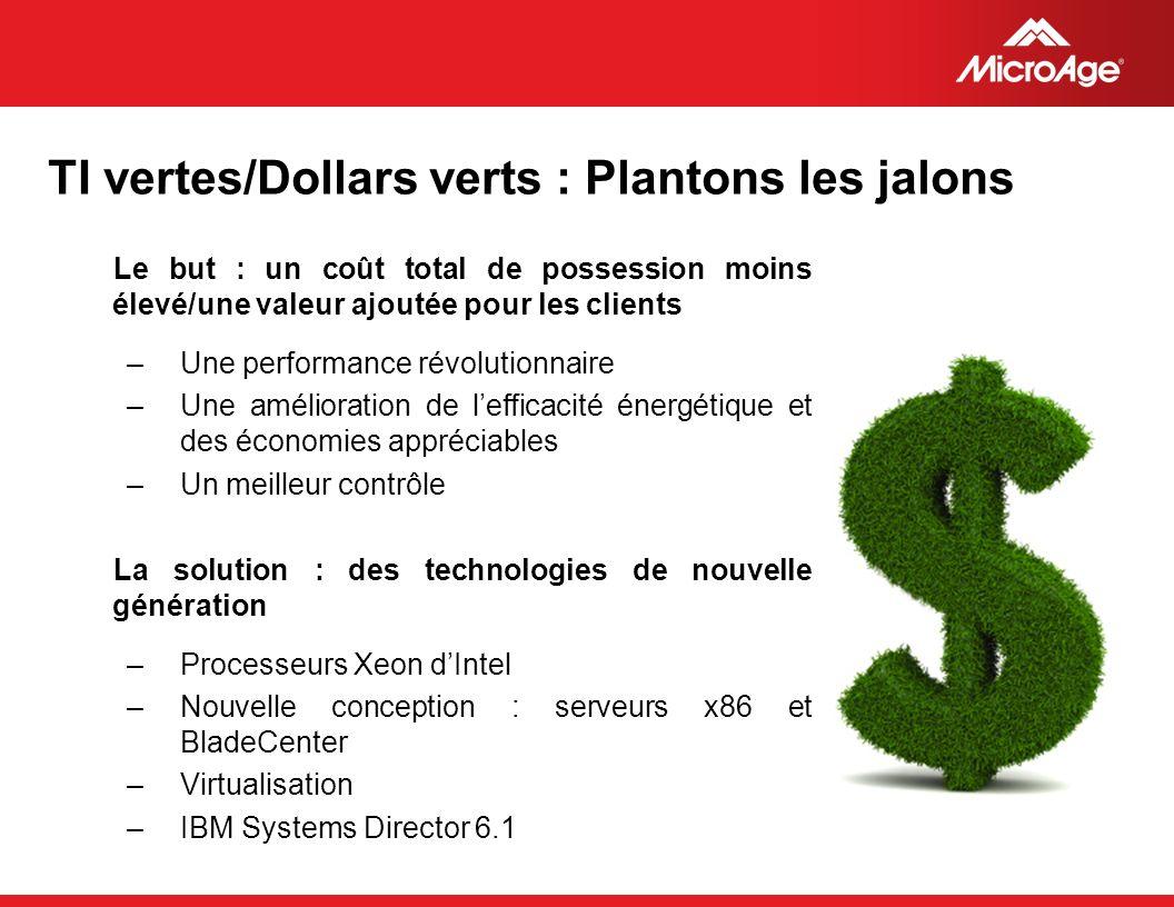 TI vertes/Dollars verts : Plantons les jalons
