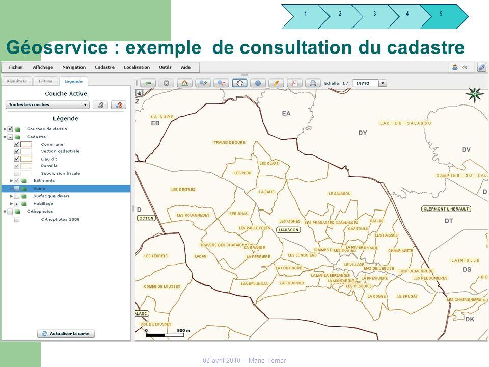 Géoservice : exemple de consultation du cadastre