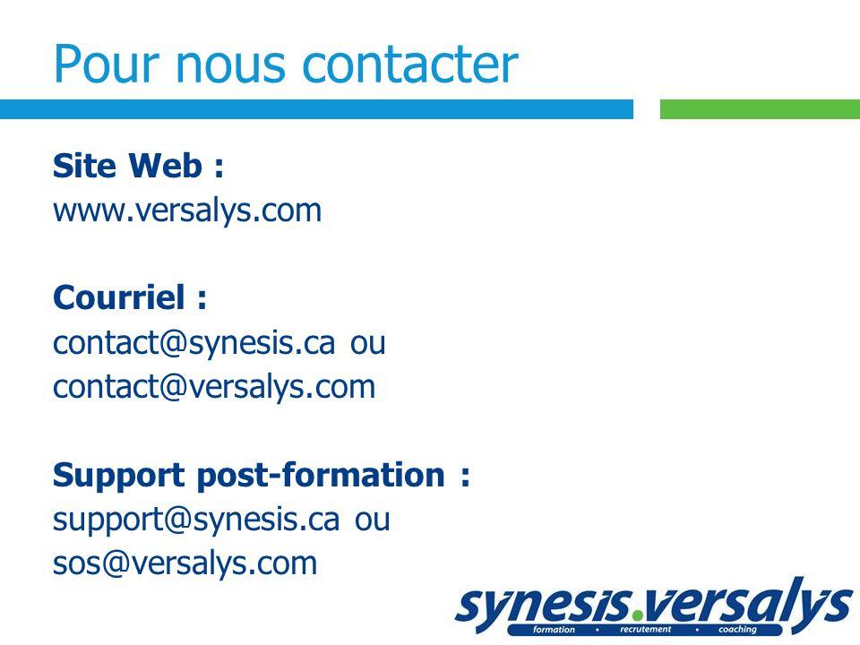 Pour nous contacter Site Web :