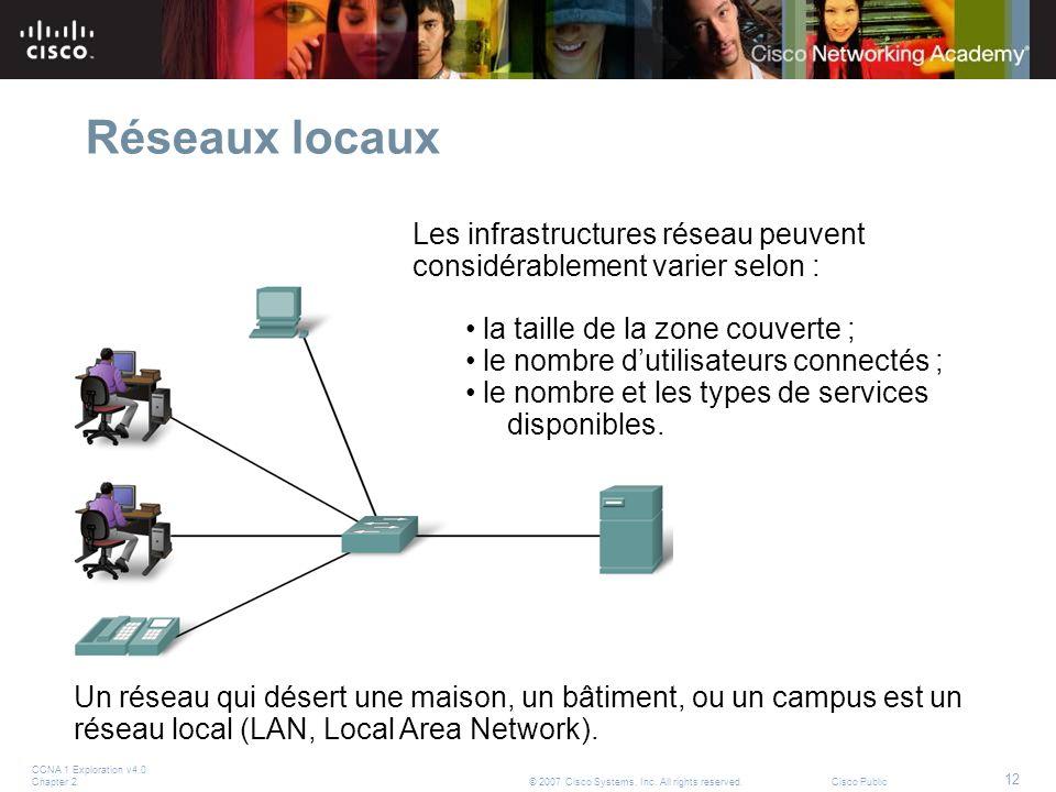Réseaux locaux Les infrastructures réseau peuvent considérablement varier selon : la taille de la zone couverte ;