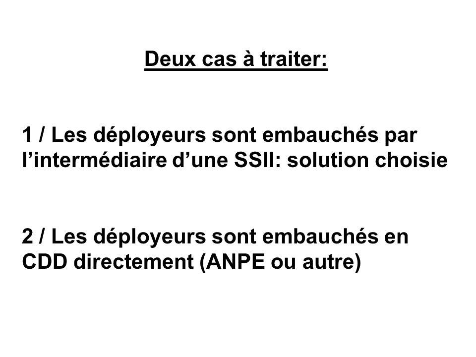 Deux cas à traiter: 1 / Les déployeurs sont embauchés par l'intermédiaire d'une SSII: solution choisie.