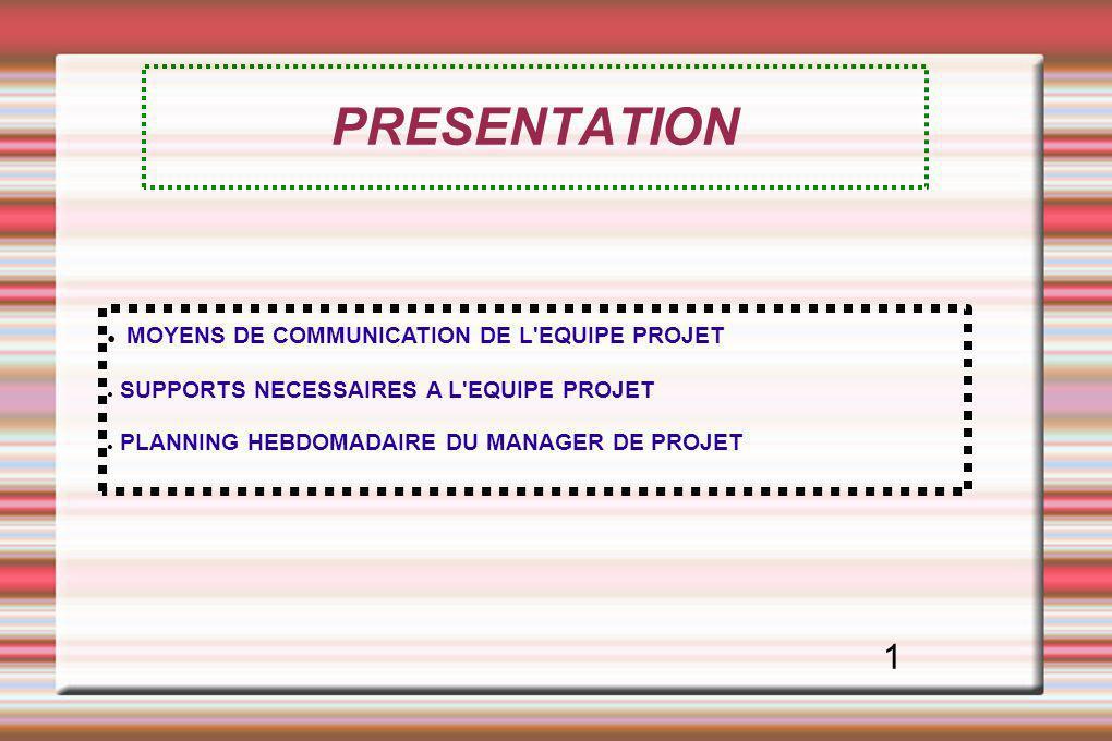 PRESENTATION MOYENS DE COMMUNICATION DE L EQUIPE PROJET 1