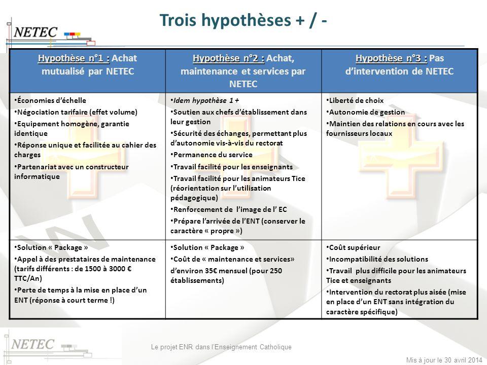 Trois hypothèses + / - Hypothèse n°1 : Achat mutualisé par NETEC