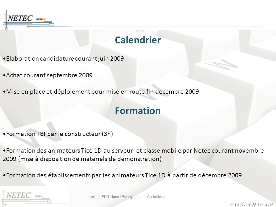 Calendrier Formation Elaboration candidature courant juin 2009