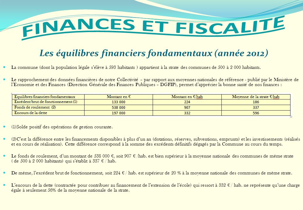 Les équilibres financiers fondamentaux (année 2012)