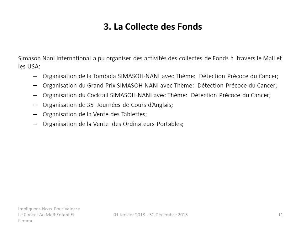 3. La Collecte des Fonds Simasoh Nani International a pu organiser des activités des collectes de Fonds à travers le Mali et les USA: