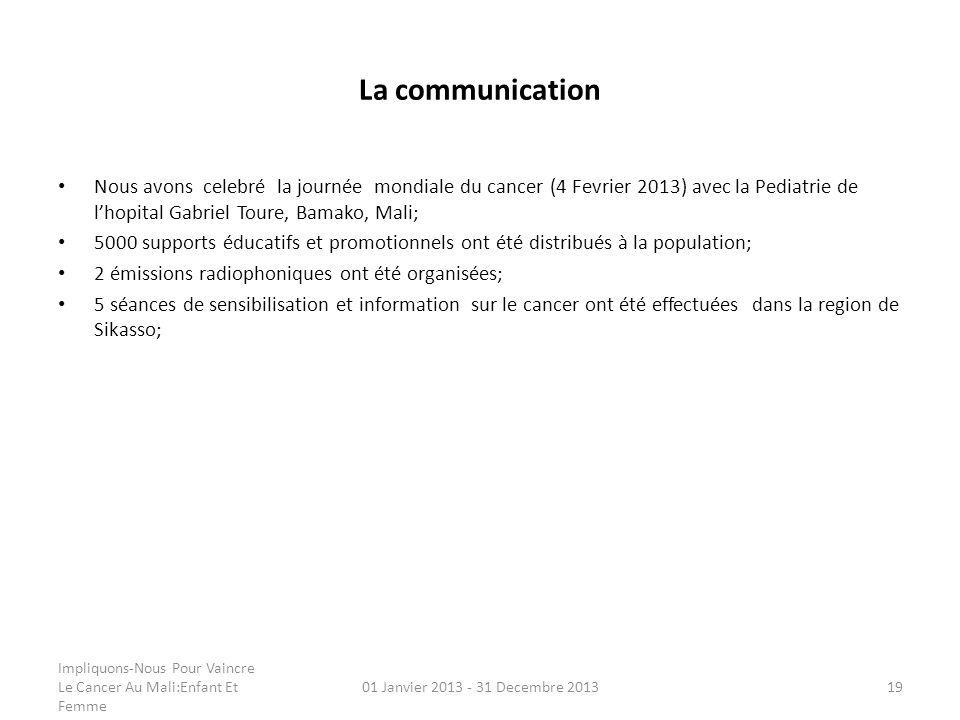 La communication Nous avons celebré la journée mondiale du cancer (4 Fevrier 2013) avec la Pediatrie de l'hopital Gabriel Toure, Bamako, Mali;