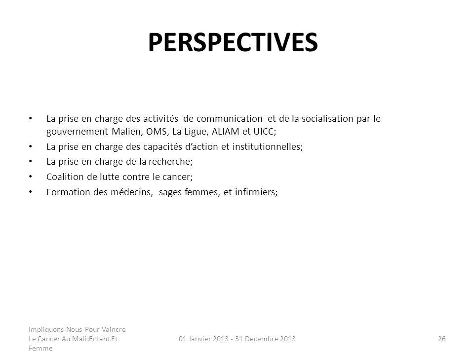 PERSPECTIVES La prise en charge des activités de communication et de la socialisation par le gouvernement Malien, OMS, La Ligue, ALIAM et UICC;