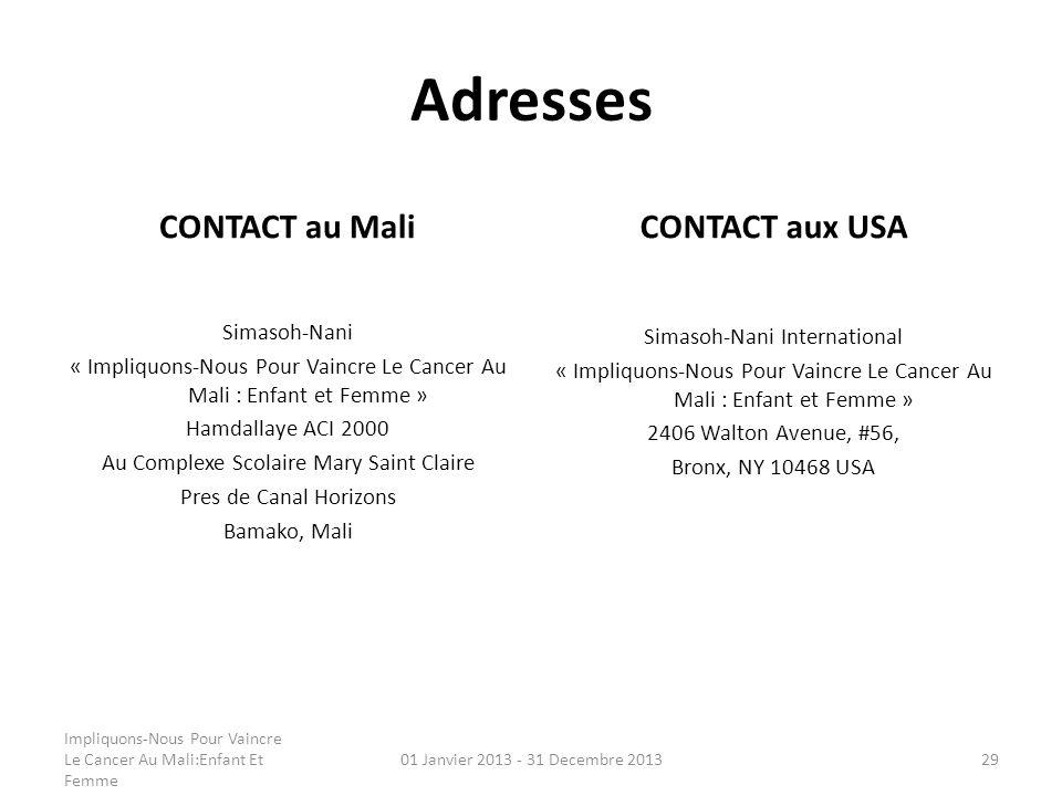 Adresses CONTACT au Mali CONTACT aux USA