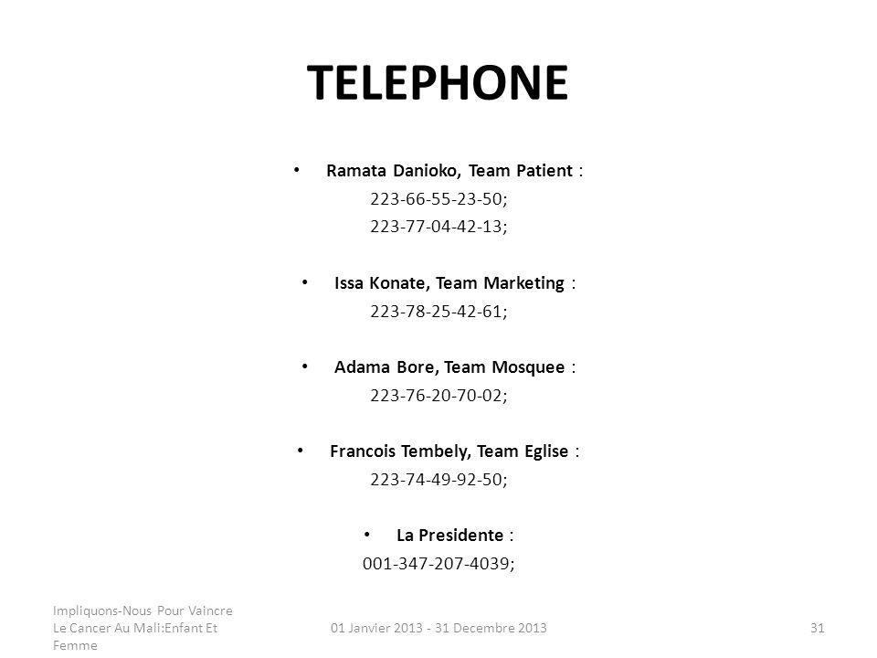 TELEPHONE Ramata Danioko, Team Patient : 223-66-55-23-50;