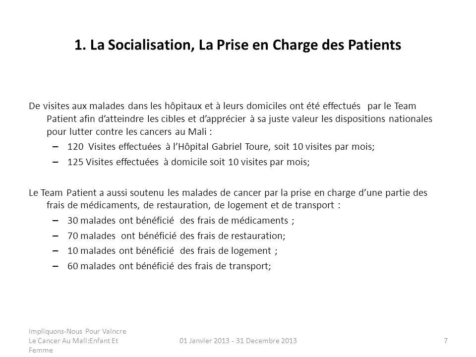 1. La Socialisation, La Prise en Charge des Patients