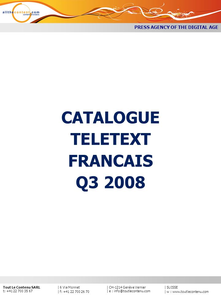 CATALOGUE TELETEXT FRANCAIS Q3 2008