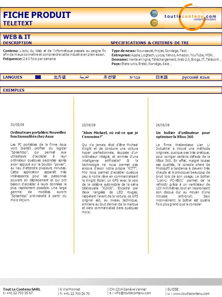 FICHE PRODUIT TELETEXT WEB & IT
