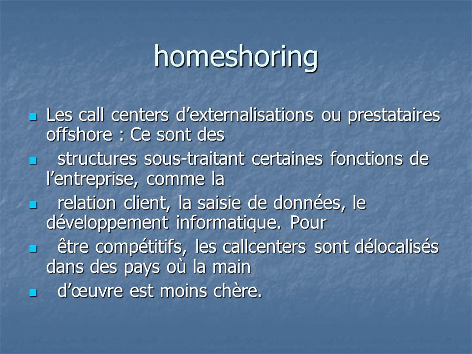 homeshoring Les call centers d'externalisations ou prestataires offshore : Ce sont des.