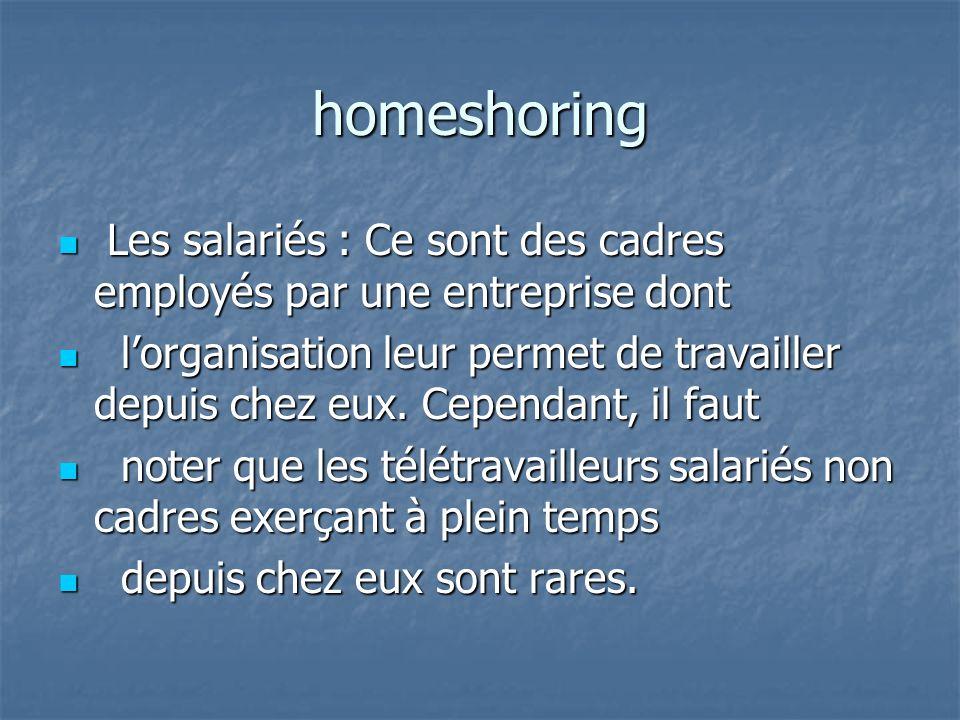 homeshoring Les salariés : Ce sont des cadres employés par une entreprise dont.