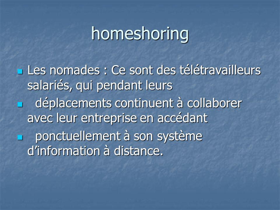 homeshoring Les nomades : Ce sont des télétravailleurs salariés, qui pendant leurs.