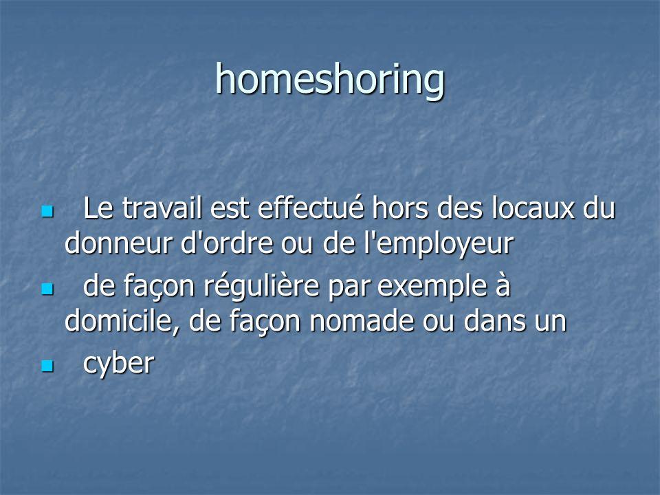 homeshoring Le travail est effectué hors des locaux du donneur d ordre ou de l employeur.