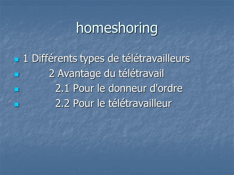 homeshoring 1 Différents types de télétravailleurs