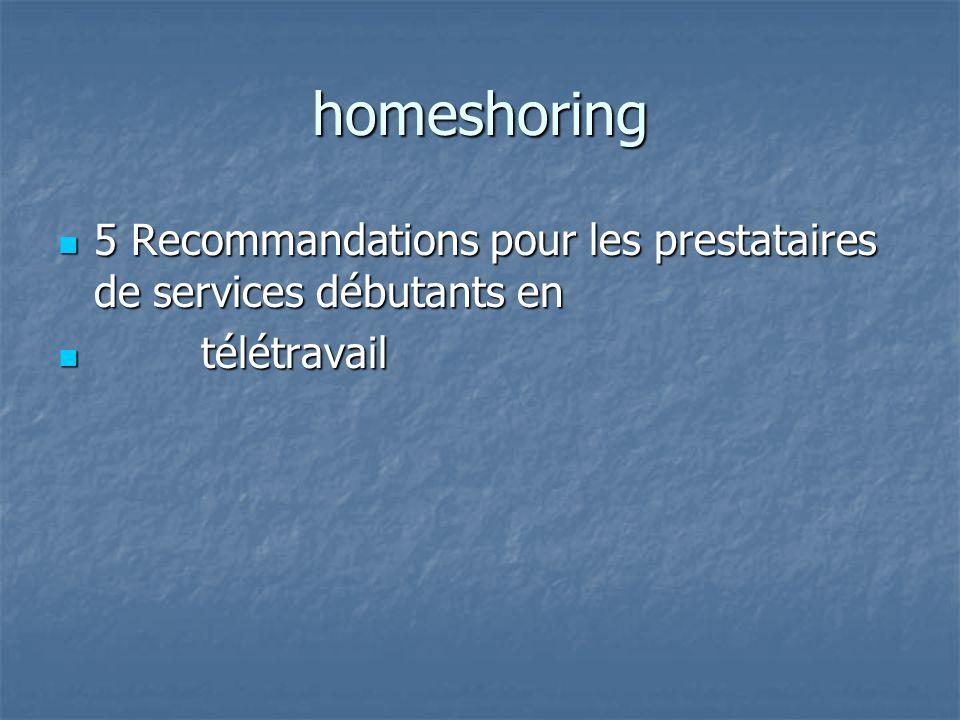 homeshoring 5 Recommandations pour les prestataires de services débutants en télétravail