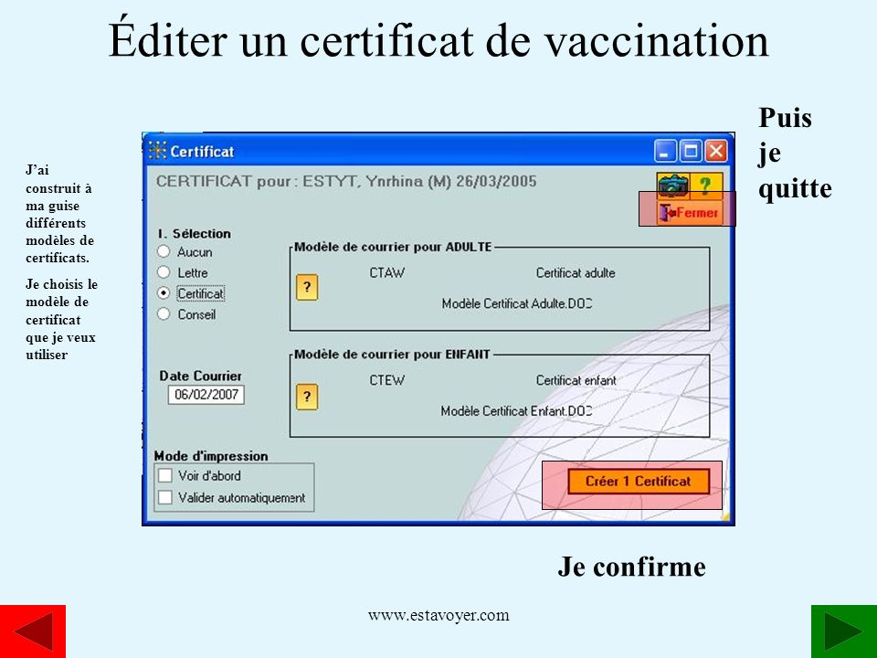 Éditer un certificat de vaccination