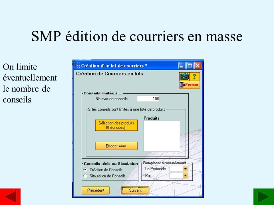 SMP édition de courriers en masse