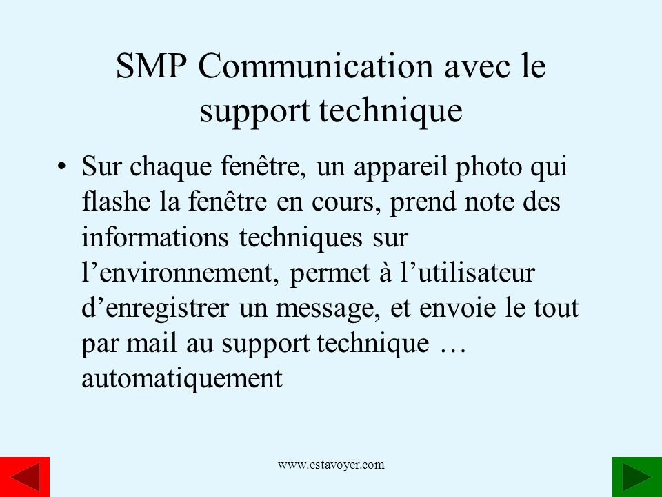 SMP Communication avec le support technique