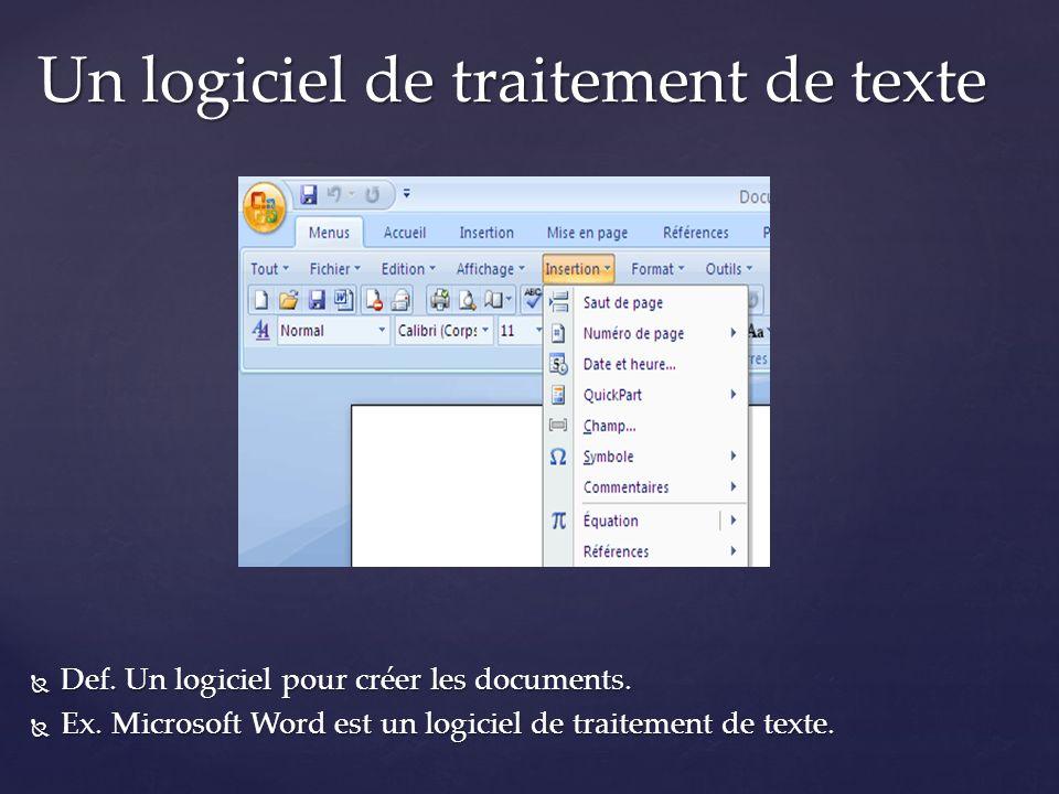 Un logiciel de traitement de texte