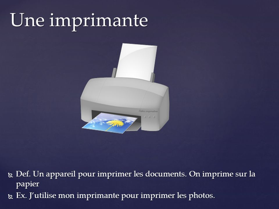 Une imprimante Def. Un appareil pour imprimer les documents.