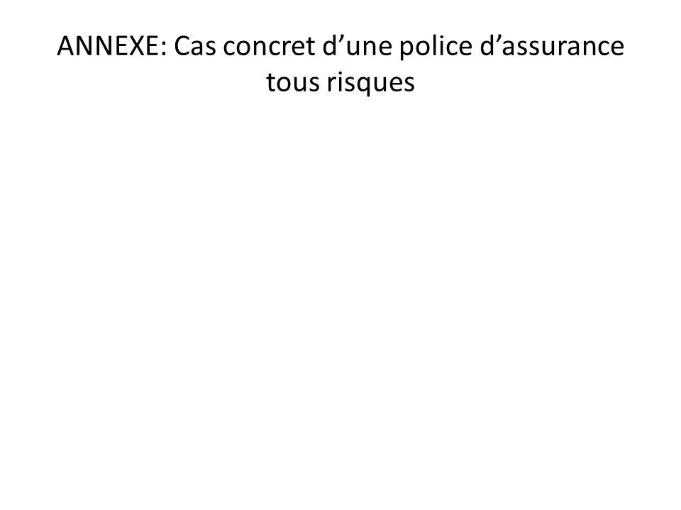 ANNEXE: Cas concret d'une police d'assurance tous risques