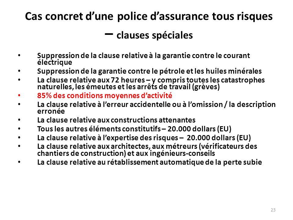 Cas concret d'une police d'assurance tous risques – clauses spéciales