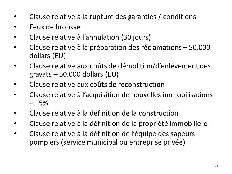 Clause relative à la rupture des garanties / conditions