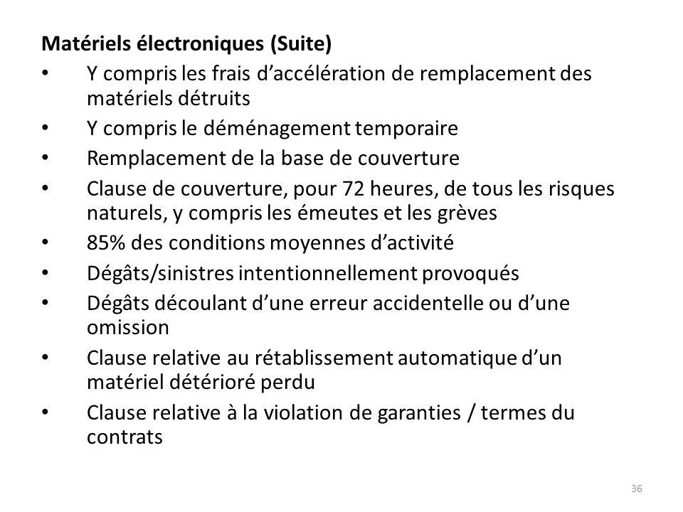 Matériels électroniques (Suite)