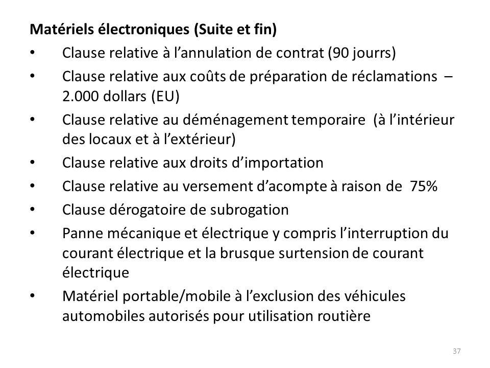 Matériels électroniques (Suite et fin)