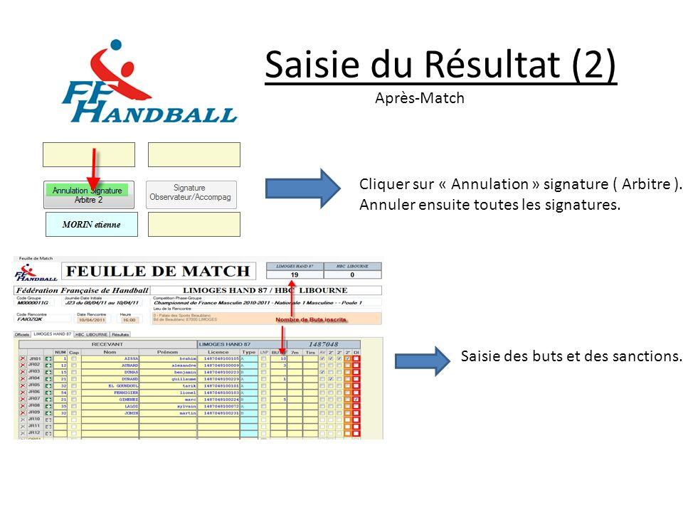 Saisie du Résultat (2) Après-Match