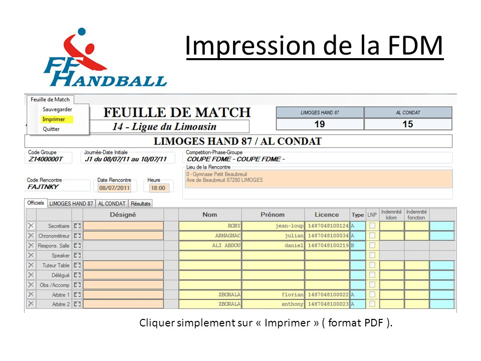 Impression de la FDM Cliquer simplement sur « Imprimer » ( format PDF ).