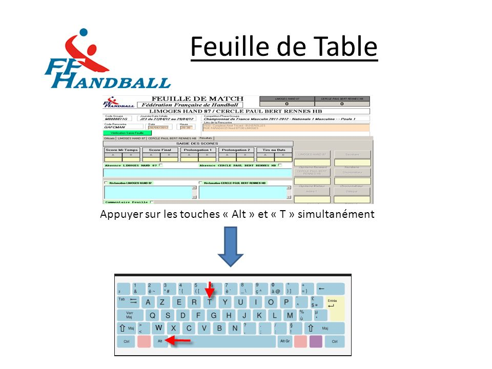 Feuille de Table Appuyer sur les touches « Alt » et « T » simultanément