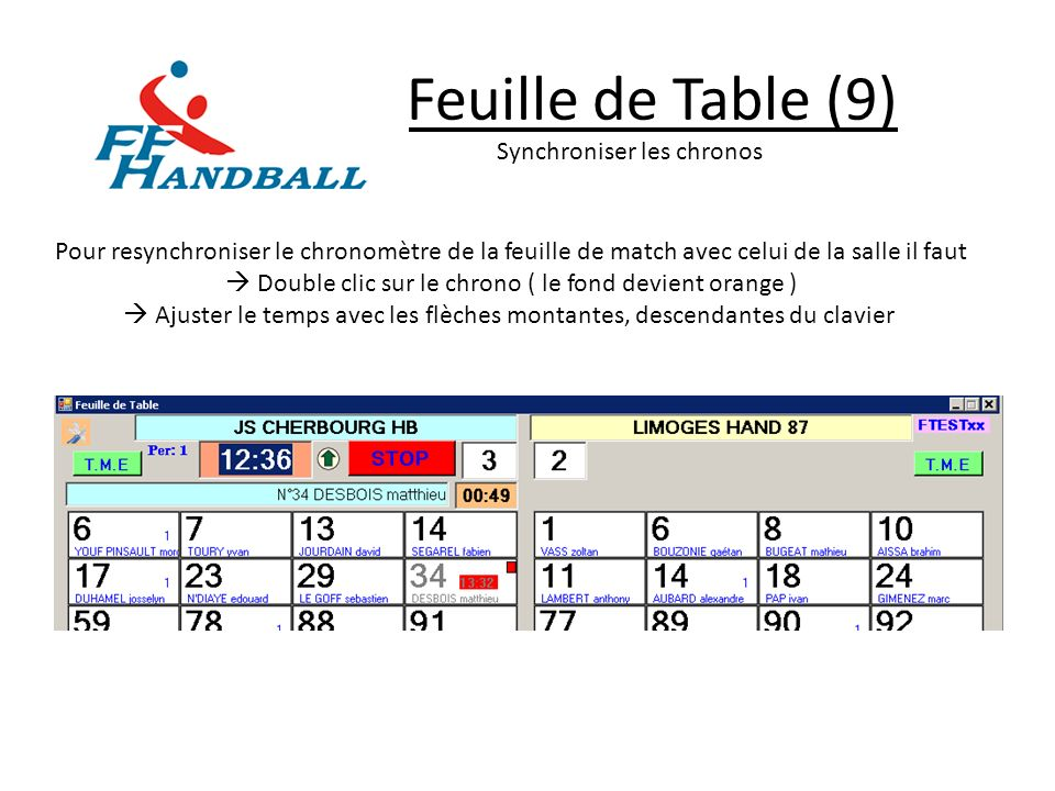 Feuille de Table (9) Synchroniser les chronos