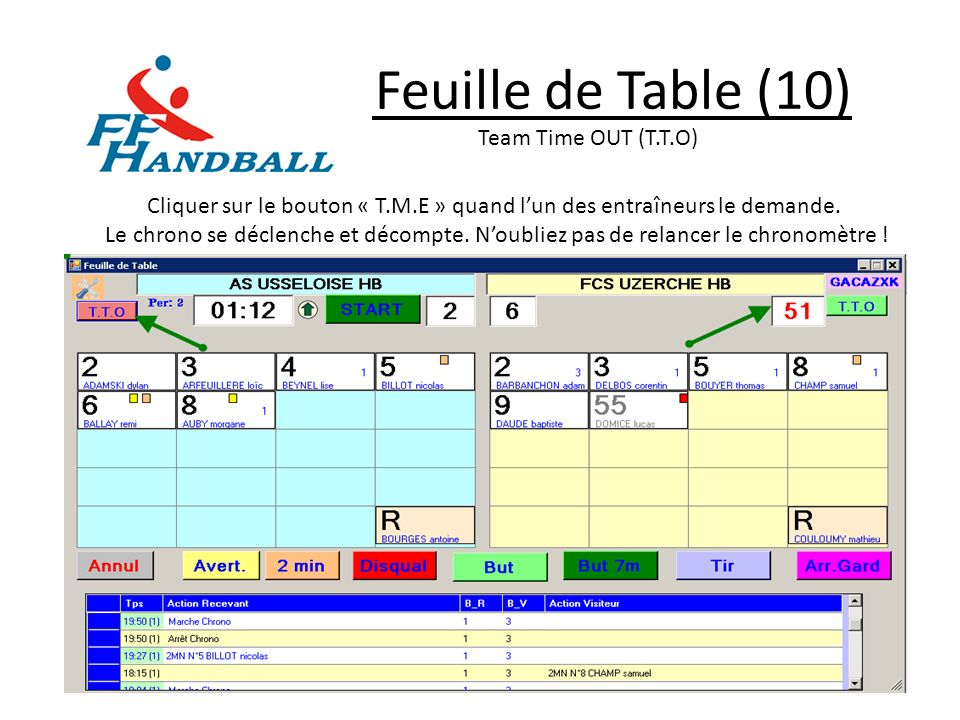 Feuille de Table (10) Team Time OUT (T.T.O)