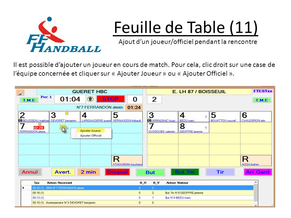 Feuille de Table (11) Ajout d'un joueur/officiel pendant la rencontre