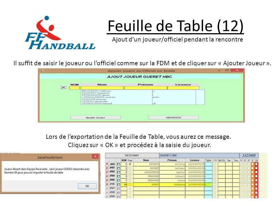 Feuille de Table (12) Ajout d'un joueur/officiel pendant la rencontre