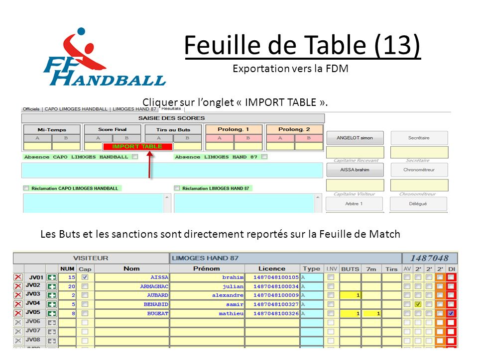Feuille de Table (13) Exportation vers la FDM