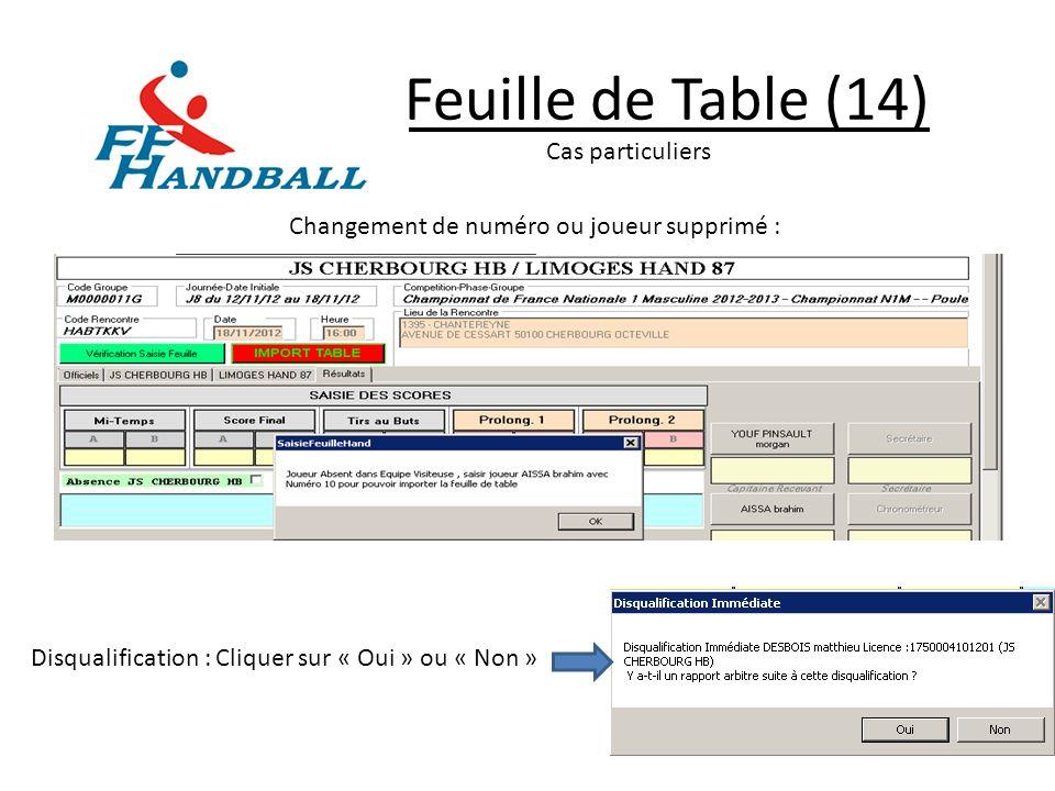 Feuille de Table (14) Cas particuliers