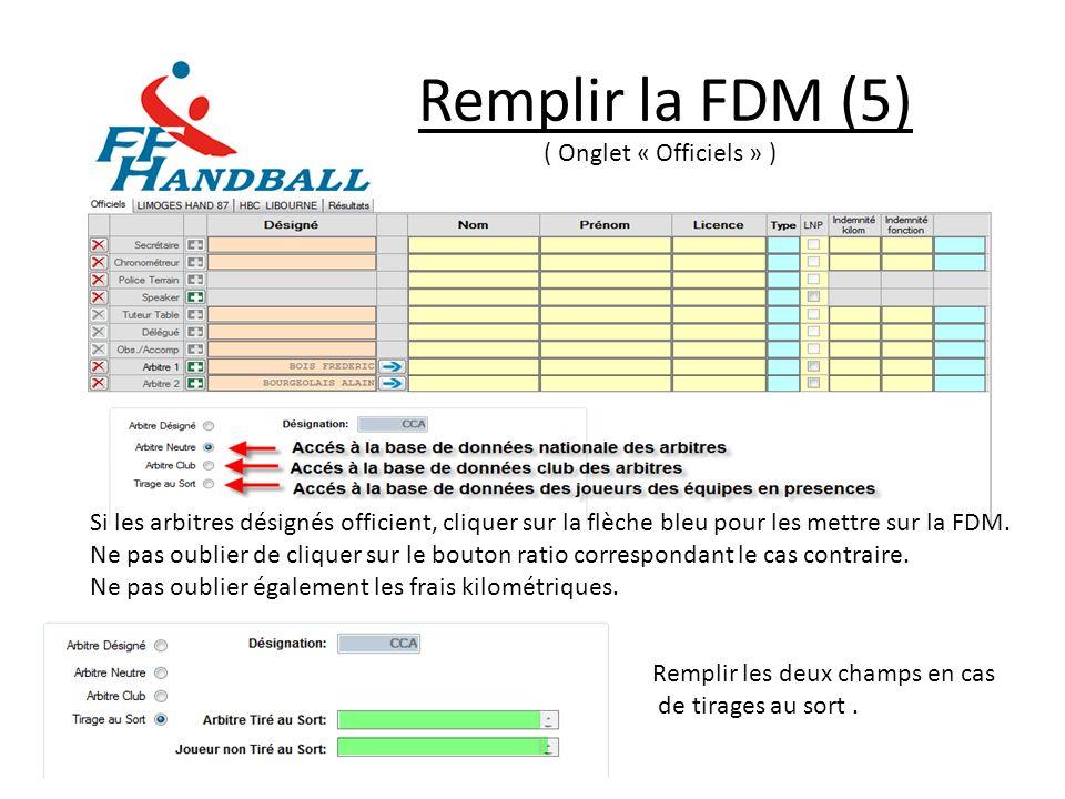 Remplir la FDM (5) ( Onglet « Officiels » )