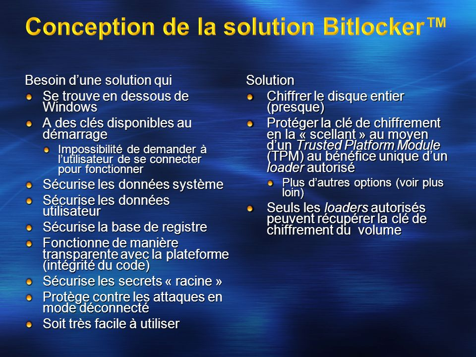 Conception de la solution Bitlocker™
