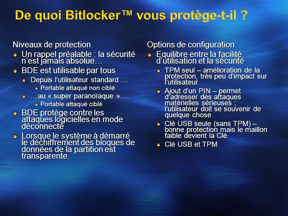 De quoi Bitlocker™ vous protège-t-il