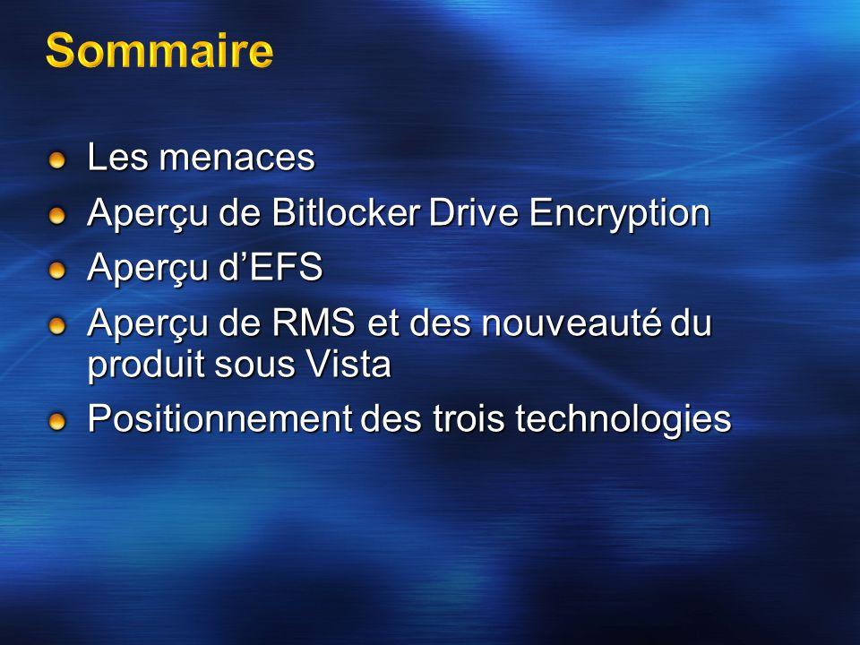 Sommaire Les menaces Aperçu de Bitlocker Drive Encryption Aperçu d'EFS