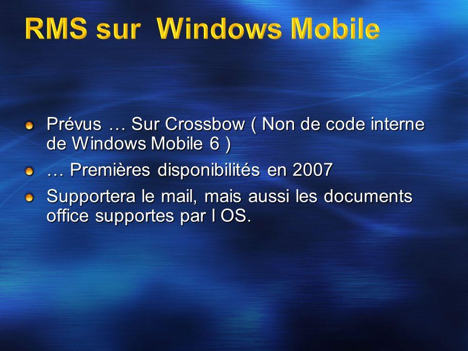 RMS sur Windows Mobile Prévus … Sur Crossbow ( Non de code interne de Windows Mobile 6 ) … Premières disponibilités en 2007.