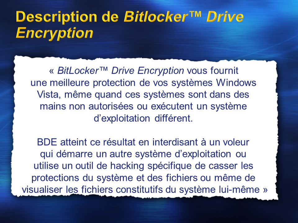Description de Bitlocker™ Drive Encryption