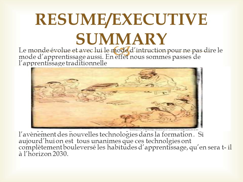 RESUME/EXECUTIVE SUMMARY